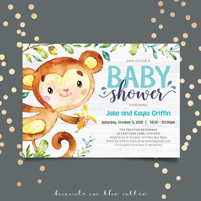 Hanging Monkey Baby Boy Shower Invitation