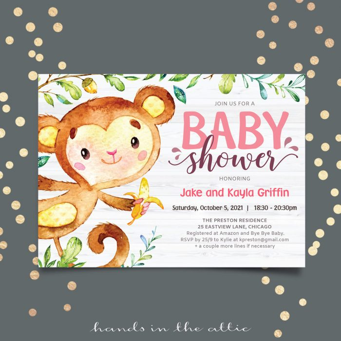 Hanging Monkey Baby Girl Shower Invitation