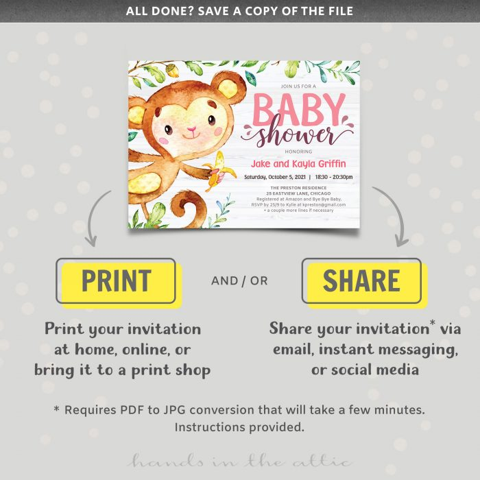 Little Monkey Baby Girl Shower Invite