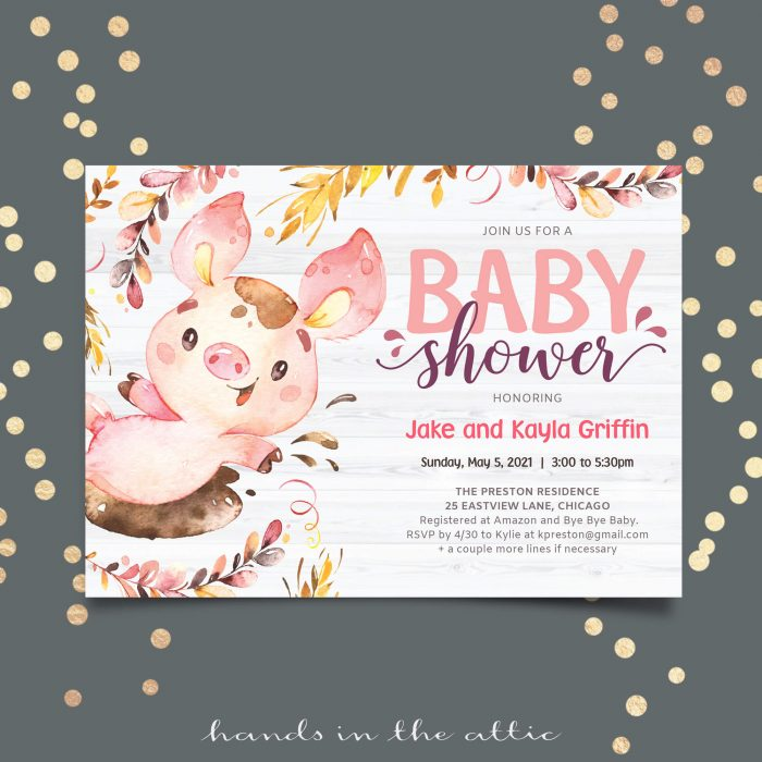 Little Pig Baby Shower Invitation