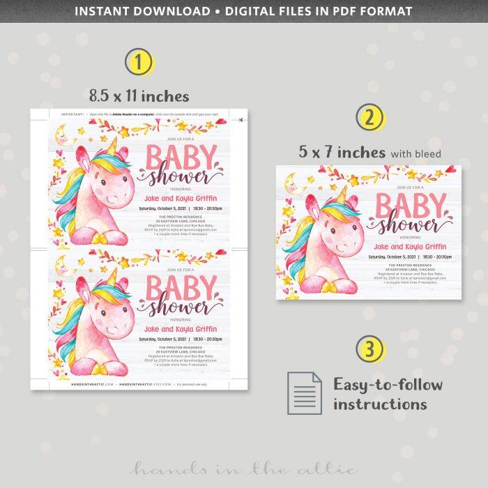 Magical Unicorn Baby Shower Invite