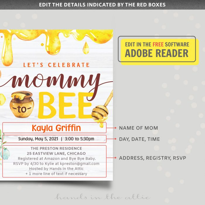 Mom To Bee Baby Shower Invite