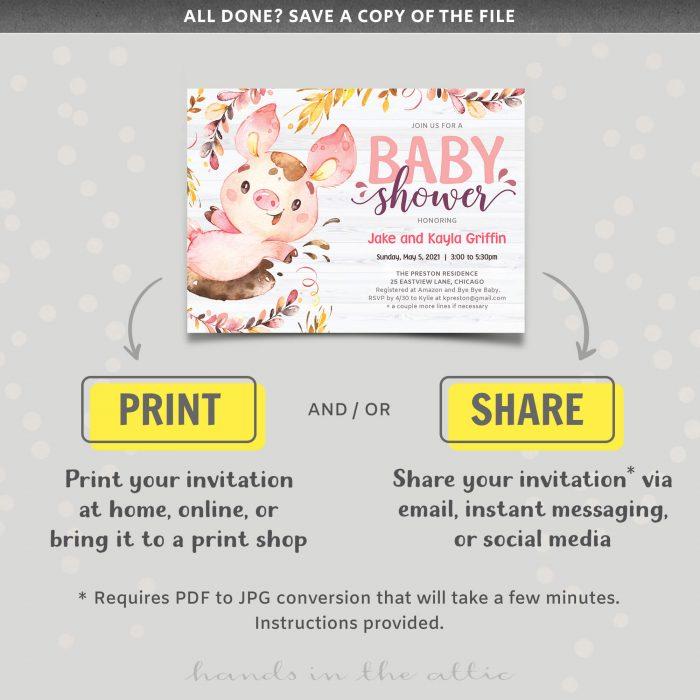 Pink Pig Baby Shower Invite