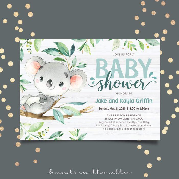 Bush Baby Koala Shower Invitation